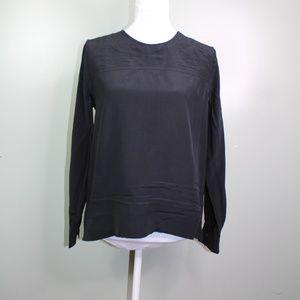 everlane women's black silk long sleeve shirt SZ 4